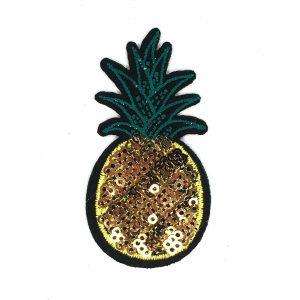 Goldfarbener Paillette-Ananas-Bügelfleck mit grünen Fruchtblättern