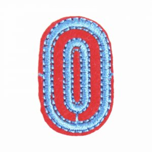 Blauer roter Bügelfleck der Nummer 0