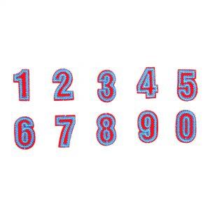 Blauen Roten Bügelflecken von den Zahlen 0 bis 9