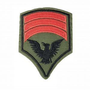 Army Green Militär Bügelbild mit drei roten Rangstreifen